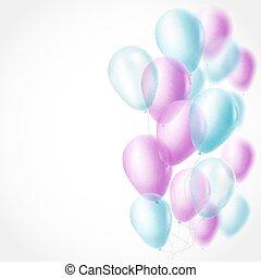 blu, rosa, luce, illustrazione, fondo., vettore, palloni