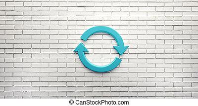 blu, ruotare, render, simbolo, illustrazione, wall., 3d