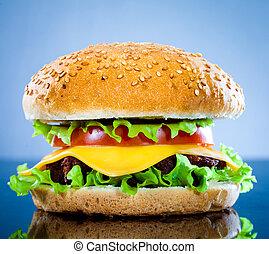 blu, saporito, hamburger, appetitoso