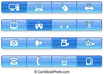 blu, sbarra, icone tecnologia
