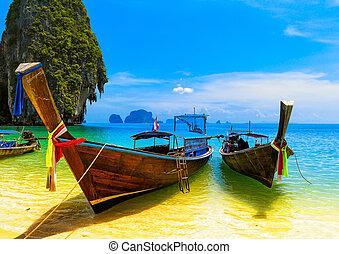 blu, scenario, paesaggio, boat., natura, legno, isola, viaggiare, cielo, tropicale, tradizionale, ricorso, bello, paradiso, tailandia, spiaggia, summer., acqua