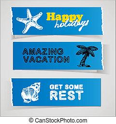 blu, schizzo, set, vacanza, illustrazioni, bandiere