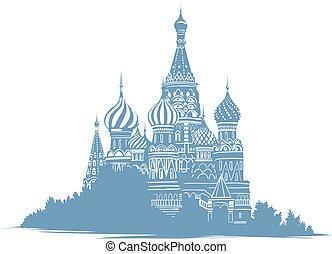 blu, schizzo, silhouette, ortodosso, colorare, mono, landmarks., basils, illustrazione, mosca, russo, fondo., stile, santo, curch., russia., cattedrale, bianco, mano, disegnato