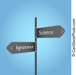 blu, scienza, ignoranza, segno, vs, fondo, scelta, strada