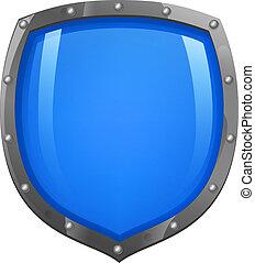 blu, scudo, baluginante, lucido