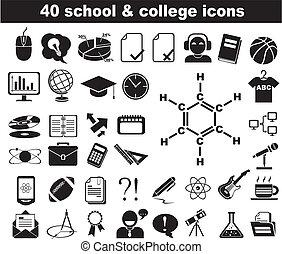 blu, scuola, icone, 40, università, nero
