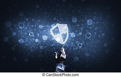 blu, scuro, scudo, simbolo, accesso, protezione, fondo, icona