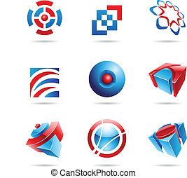 blu, set, 14, astratto, rosso, icona
