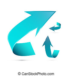 blu, set, astratto, freccia, 3d, icona