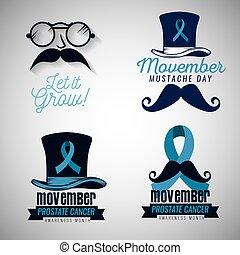 blu, set, baffi, nastro, occhiali