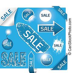 blu, set, eps10, etichette, -, vendita, colori, bianco