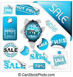 blu, set, etichette, vendita, biglietti, adesivi
