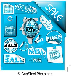 blu, ..., set, etichette, vendita, biglietti, francobolli