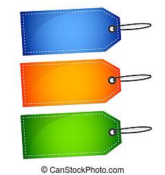 blu, set, etichette, vendita, verde, arancia