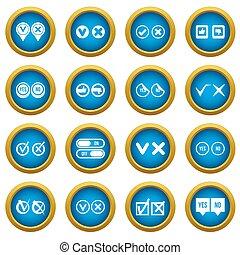 blu, set, icone, marchio, cerchio, assegno