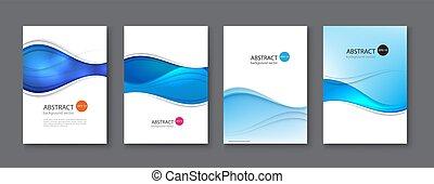 blu, set, illustration., astratto, fondo., vettore, linea