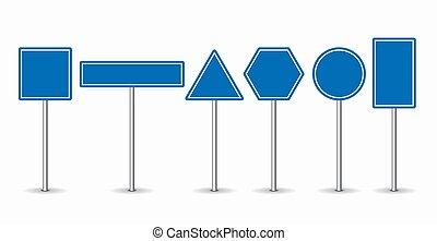 blu, set, illustration., fondo., vettore, segni, bianco, strada