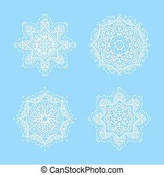blu, set., illustrazione, mandalas, vettore, fondo, ornare, fiocco neve bianco