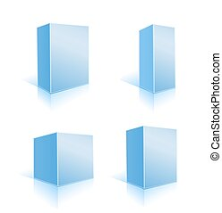 blu, set, illustrazione, scatole, vettore, white.