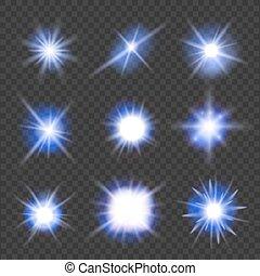 blu, set, luce, sopra, illustrazione, fondo., vettore, bagliori, trasparente