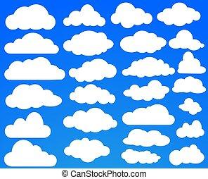 blu, set, nubi, sky., molti, illustrazione, vettore, bianco