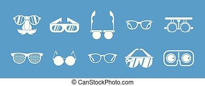 blu, set, occhiali, vettore, icona