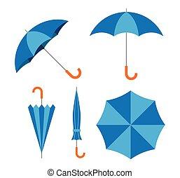 blu, set, ombrello, illustrazione, vettore, fondo, bianco