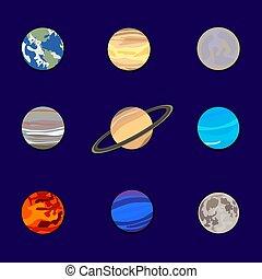 blu, set, pianeti, illustrazione, cielo, sistema, vettore, sfondo scuro, carta, solare, cutout.