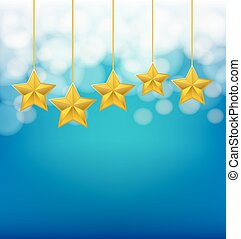 blu, sfondo dorato, corde, sfocato, stelle