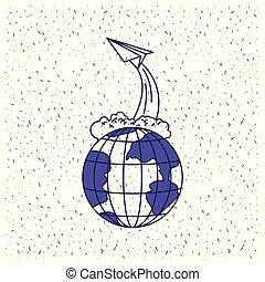 blu, silhouette, globo, volare, aereo, carta, fondo, terra, bianco