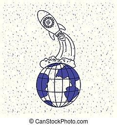 blu, silhouette, razzo, spazio, globo, fondo, terra, bianco, lancio