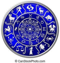 blu, simboli, zodiaco, disco, segni