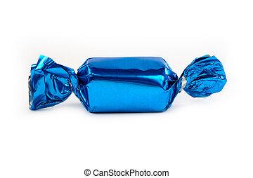 blu, singolo, isolato, caramella