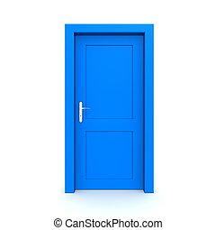 blu, singolo, porta, chiuso