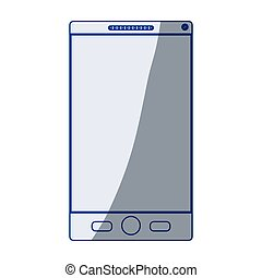 blu, smartphone, silhouette, fondo, ombreggiatura, bianco
