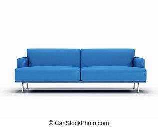 blu, sofà cuoio, digitale, -, fondo, grafica, bianco