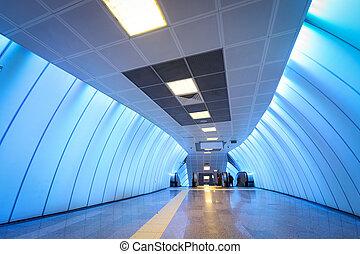 blu, sottopassaggio, corridoio