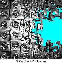 blu, sound-system, render, cromo, esploso, argento, 3d