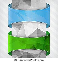 blu, spogliato, verde, colonna, triangolo, etichette, backg
