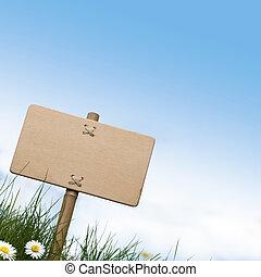blu, stanza, legno, testo, cima, cielo, segno, fiori, verde, vuoto, erba, margherite