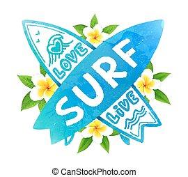 blu, surf, surfing, assi, bali, amore, vivere, segno, mano, acquarello, colori, vettore, incrocio, disegnato, fiori