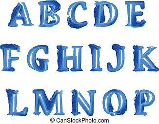 blu, symbols., alfabeto, acquarello, vettore, numeri, scritto mano
