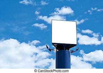 blu, tabellone, sopra, cielo, vuoto