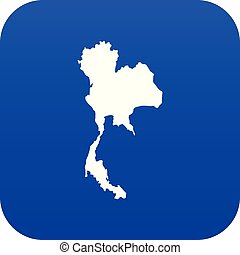 blu, tailandia, mappa, digitale, icona