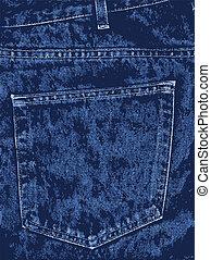 blu, tasca, denim