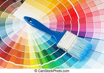blu, tavolozza dei colori, manico, spazzola