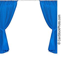 blu, tenda, sfondo bianco