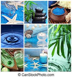 blu, terme, collage