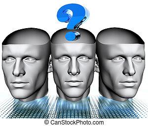 blu, teste, punto interrogativo, uomo, 3d