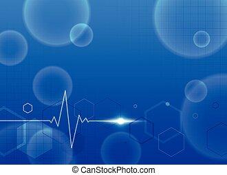 blu, testo, medico, fondo, spazio